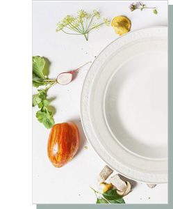 White plate and radishes and tomatoes