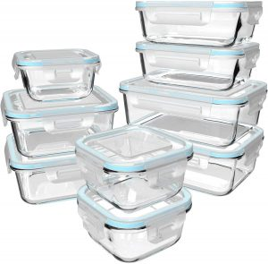 Stacked glass food storage containers