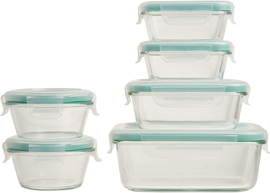 Stacked glass covered food storage